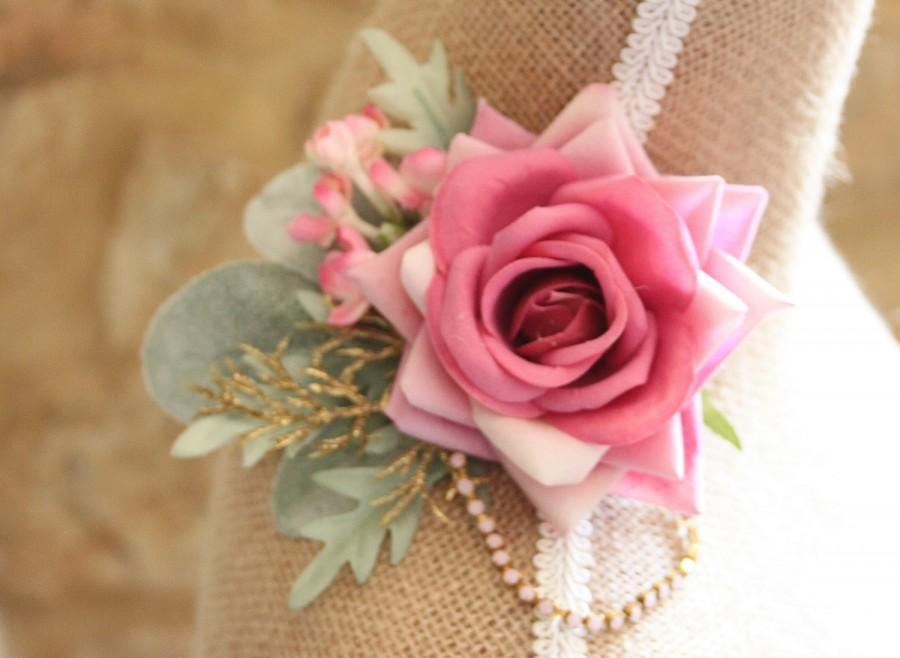 Mariage - Pink rose fascinator, rose hair piece, bridal head piece, pink roses, pink rhinestones, pink rose hair clip, wedding hair - 'Rosalie'