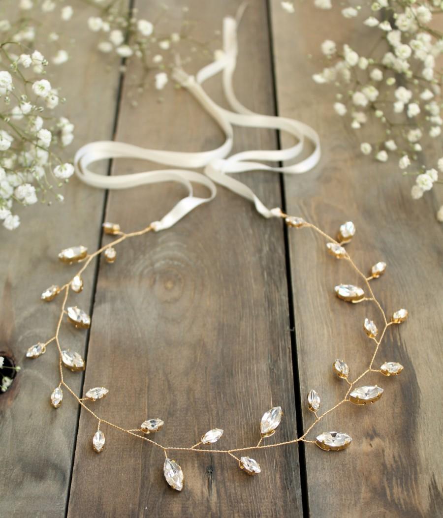 Mariage - bridal hair vine, wedding accesories, crystal headpiece, winter wedding headpiece, crystal bride halo, Swarovski leaf wreath, gold tiara