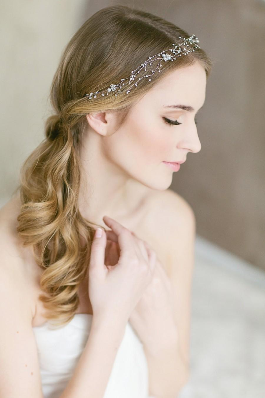 Mariage - Wedding Headband, Pearl Hair  Accessory for Bride, Delicate Ivory Pearl Hair Vine, Bridal Headpiece