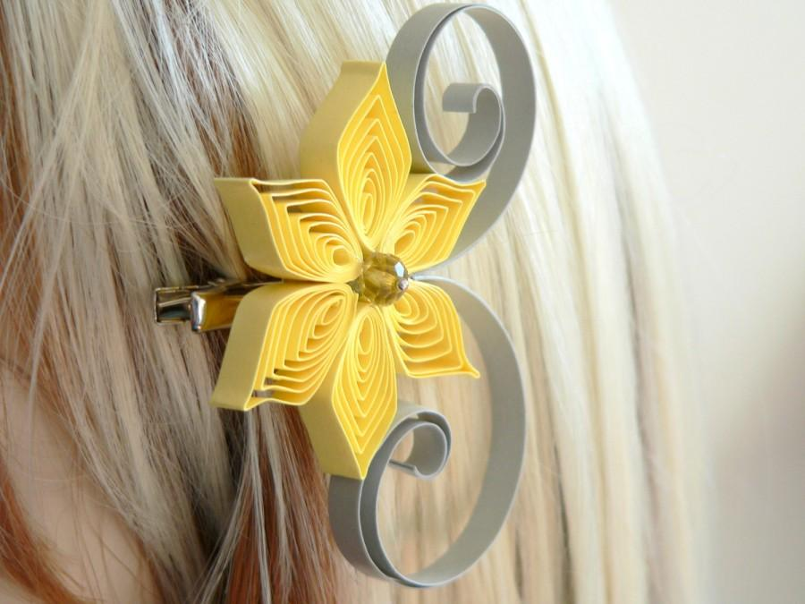 Mariage - Yellow and Gray Wedding Hair Accessory, Bridesmaid Gift, Yellow Wedding, Gray Wedding