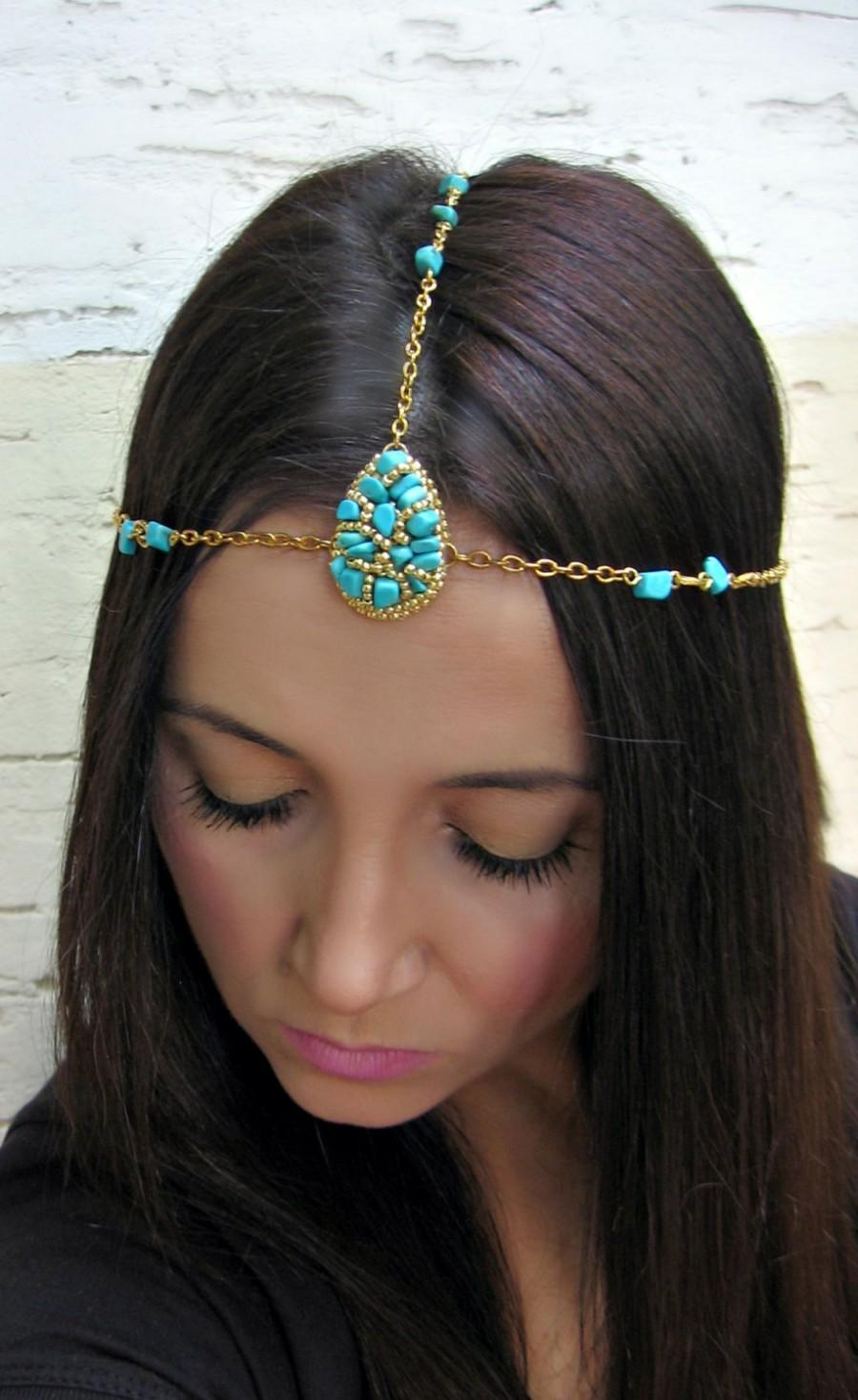 Bridal Bohemian Headdress Wedding Turquoise Hair Chain