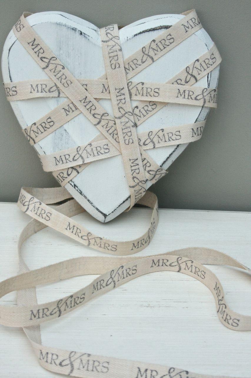 زفاف - MR & MRS - Wedding ribbon hand printed cotton twill