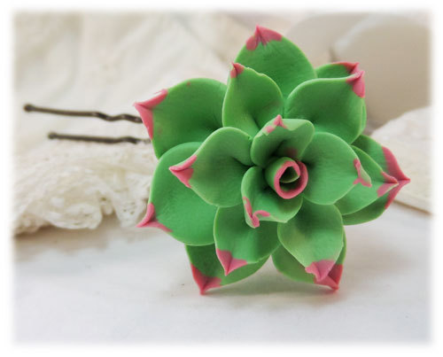 Large Pink Tipped Succulent Hair Pin Green Hair Flower Succulent