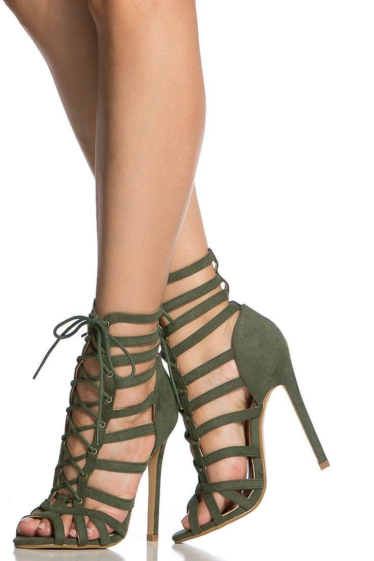 5fd7f5850a88 Olive Faux Suede Cage Lace Up Single Sole Heels - Shoes Fashion ...