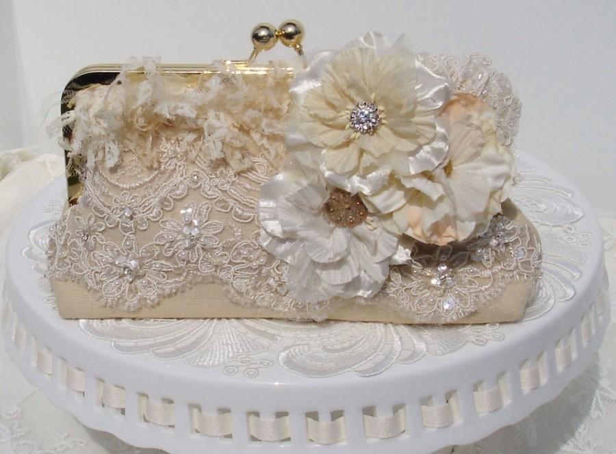 Mariage - Garden Wedding / Downton Abbey / Great Gatsby / Ivory Wedding Bag / Bridal Clutch / Rustic Elegant Wedding