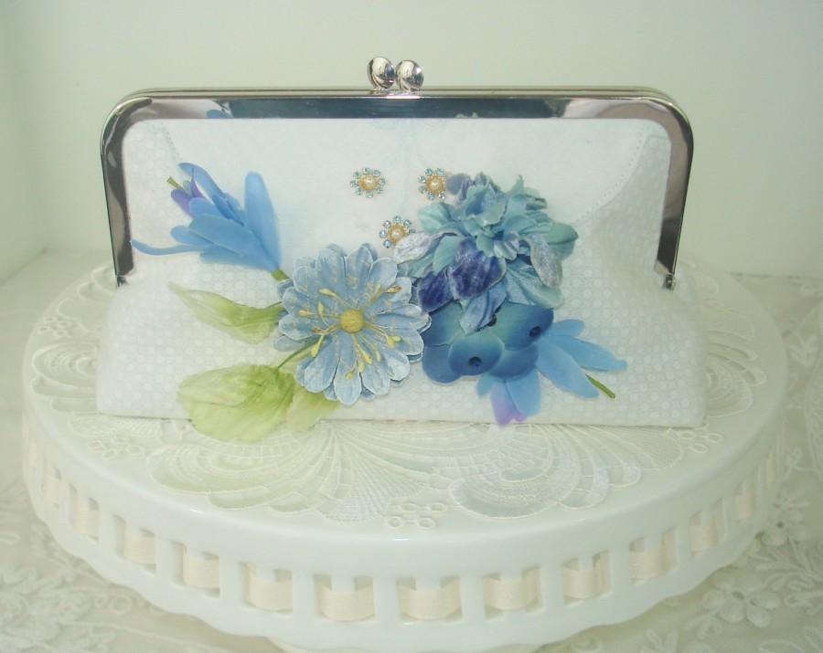 Mariage - SALE / White Bridal Clutch / Butterfly Wedding / Vintage Style Clutch/ Something Blue / Farmhouse Wedding