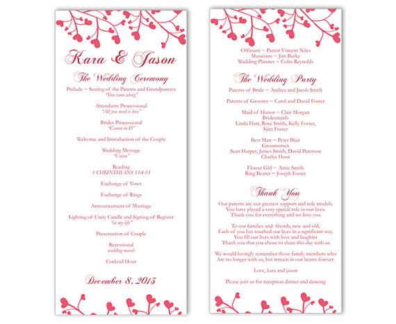 Wedding - Wedding Program Template DIY Editable Text Word File Download Program Dark Pink Wedding Program Heart Program Printable Program 4x9.25inch