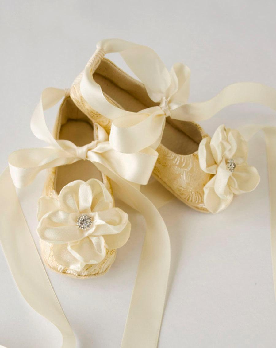 Gold Toddler Ballet Slippers Flower Girl Shoes In Gold Silver