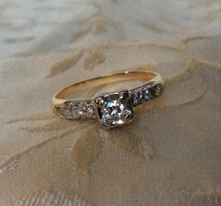 vintage engagement ring w 20ct brilliant