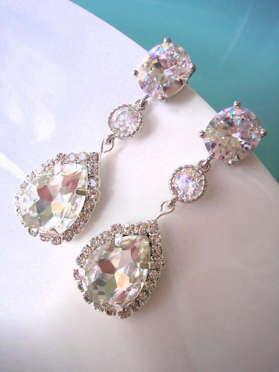 Mariage - Crystal Bridal Earrings Jewelry CZ Wedding Jewelry Wedding Drop Earring Bridesmaid Earring Long Earring