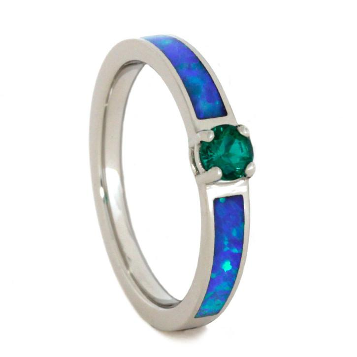 Wedding - Round Emerald Engagement Ring with Opal in Palladium