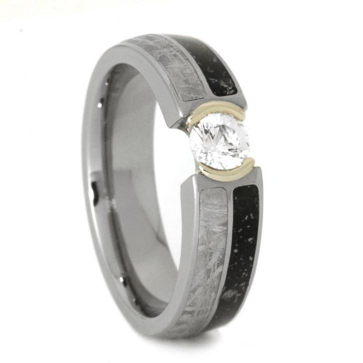 Hochzeit - White Sapphire Engagement Ring with Meteorite and Stardust