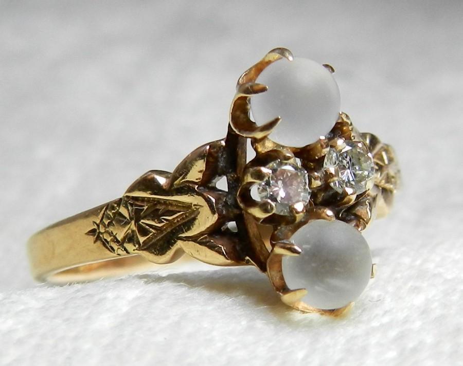 Moonstone Engagement Ring Diamond 14K Rose Gold 1800s Victorian