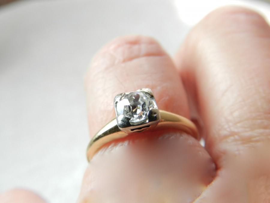 Hochzeit - Engagement Ring .50 Ct Old European Cut Diamond Engagement Ring Art Deco Diamond Ring 1920s OEC Diamond Ring