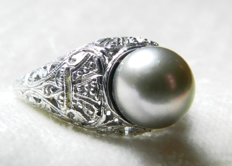 Mariage - Pearl Engagement Ring 1920s Art Deco Cultured Tahitian Pearl Engagement Ring 14K White Gold 9 mm Silver Black Pearl Ring June Birthday Gift