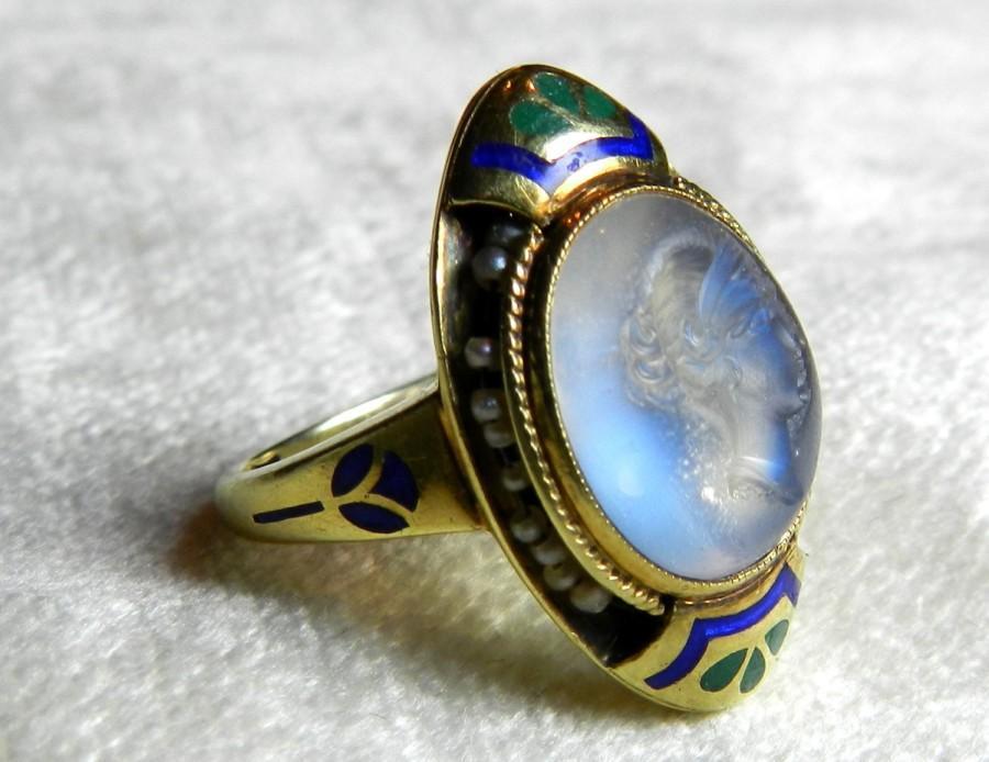 Mariage - Moonstone Engagement Ring Rare Moonstone Intaglio Enamel Cape Cod Estate Art Nouveau Antique Ring 14K Seed Pearl 1890