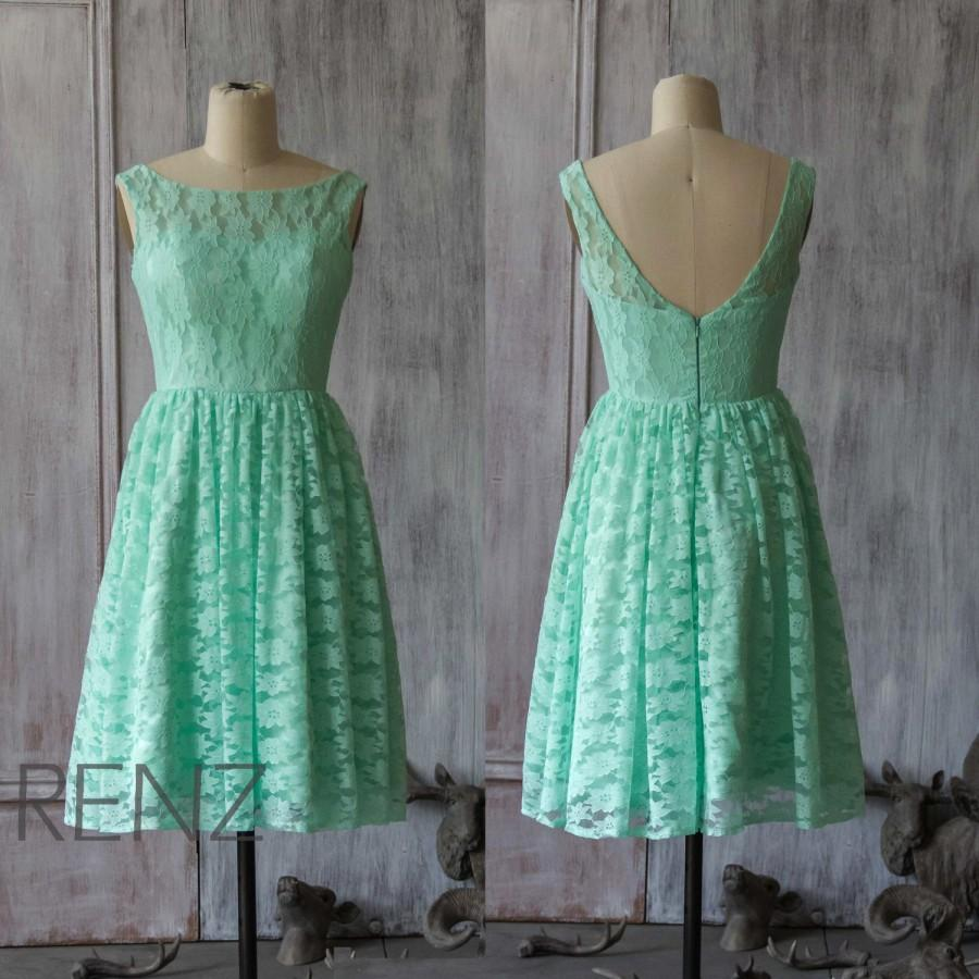2015 Lace Bridesmaid Dress, Mint Bridesmaid Dress, Party Dress ...