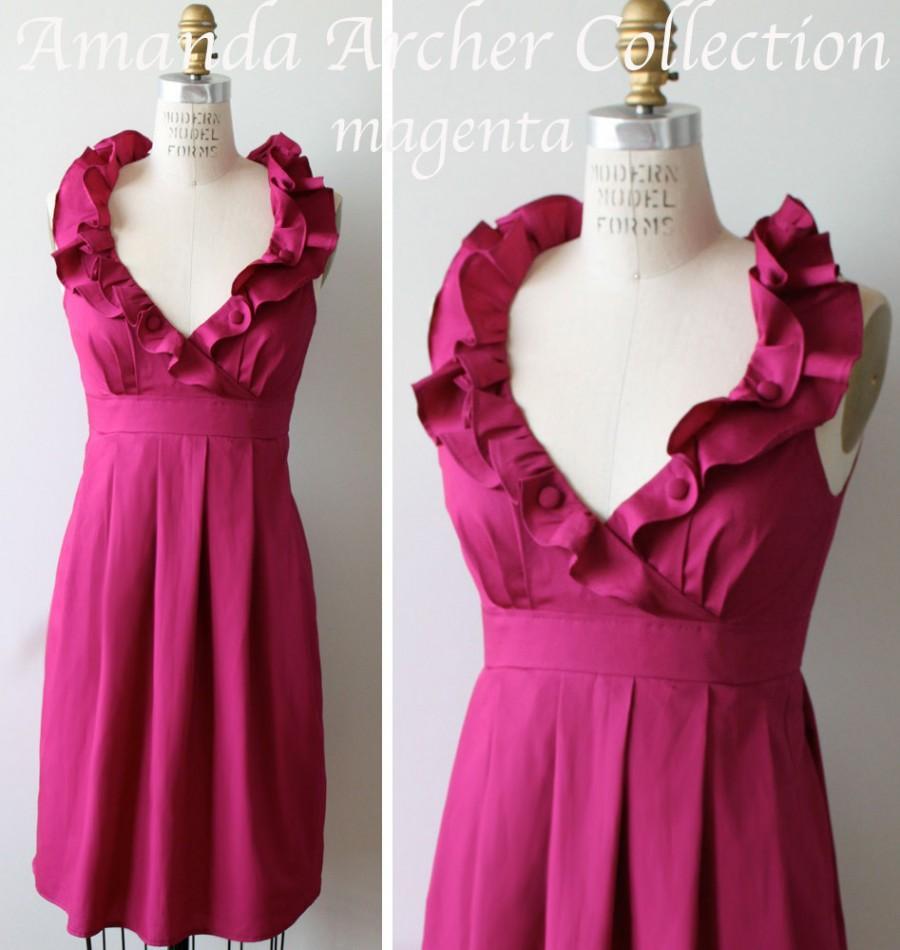 زفاف - Magenta Pink Dress, Bridesmaid, Made to Order, cotton with pockets