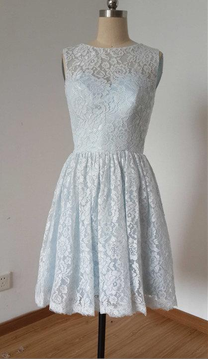 Wedding - 2015 A-line Pale Blue Lace Short Bridesmaid Dress with Back Buttons