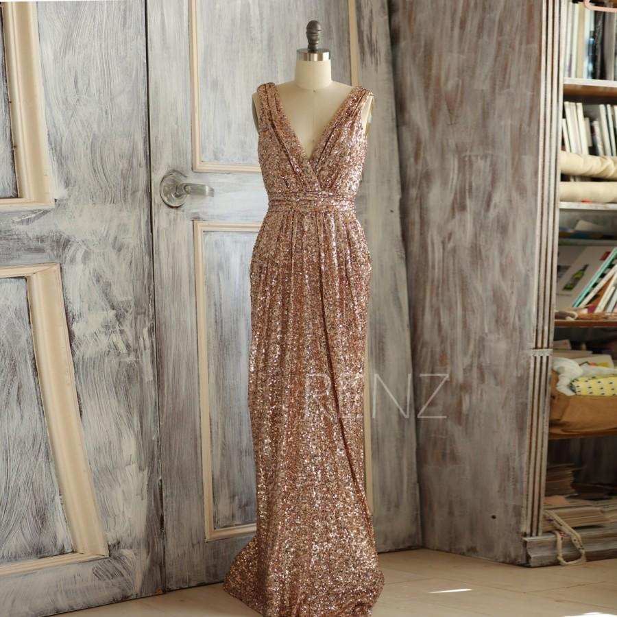 2015 rose gold bridesmaid dress long gold sequin wedding
