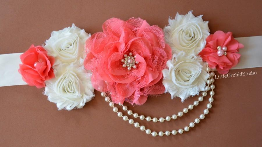 Coral Elegance Maternity Sash Pregnancy Photo Prop Baby