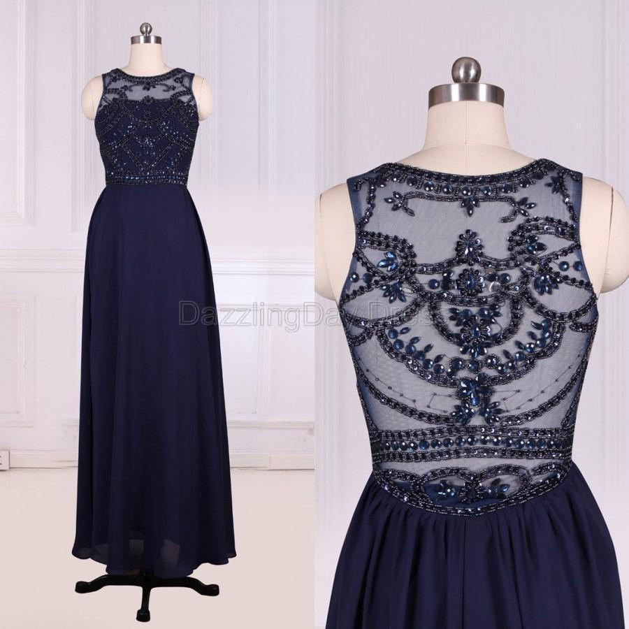 Mariage - Navy Bridesmaid Dresses Fashion Long Prom Dresses Chiffon Party Gowns Evening Dress Long Women Dress With Beading Rhinestone