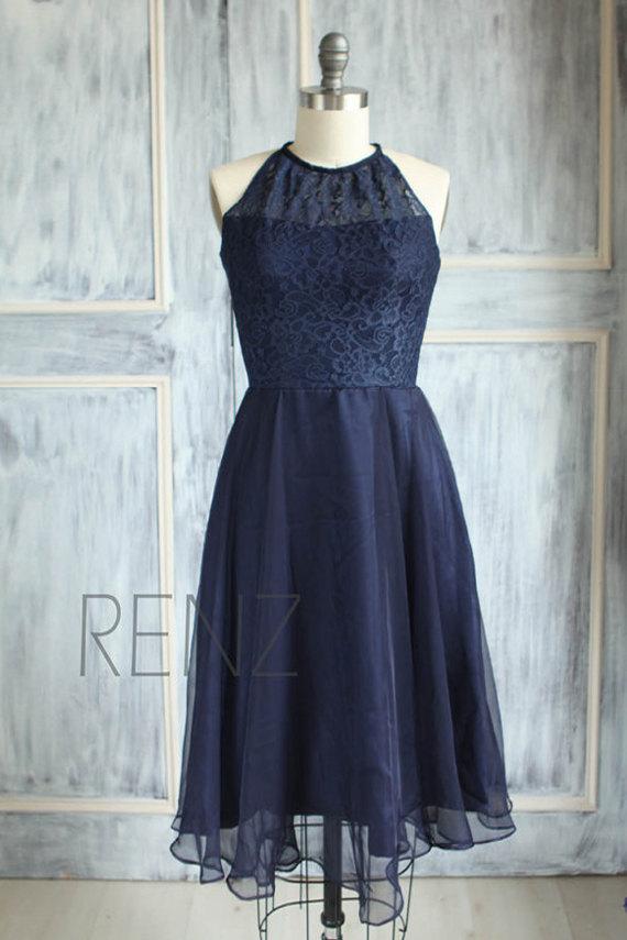 Mariage - 2015 Long Navy Blue Bridesmaid dress, Lace Wedding dress, Chiffon Halter Party dress, Sleeveless Prom dress knee length (B080B)-RENZ