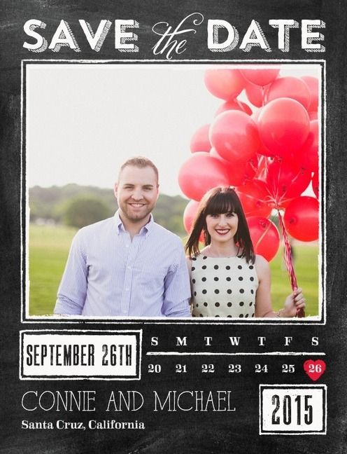 Hochzeit - Chalked Promise - Save The Date Postcards In Black