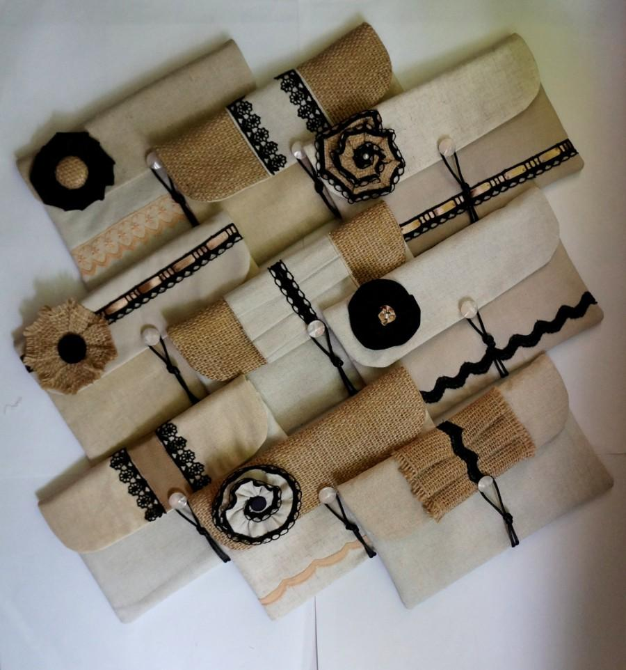 Hochzeit - Mix&Match - Set of 9 bridesmaid clutches - various beige linen fabrics, burlap/ hessian, beige and black lace, southwestern/ rustic wedding