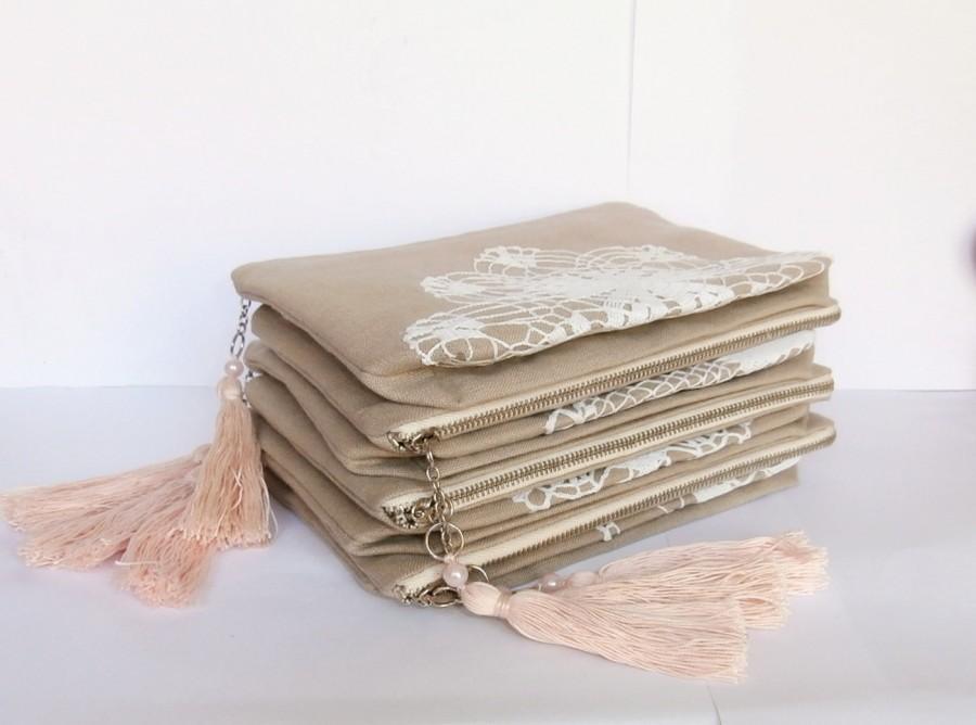 Set Of 7 Bridesmaid Bags -sand Beige Linen +vintage Doily Zipper Clutch, Handmade Pouch, Vintage ...