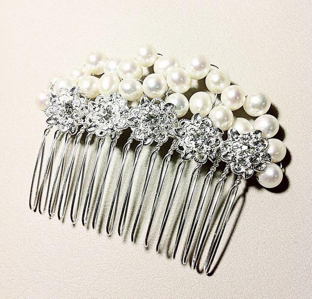 Mariage - Sale wedding pearl Rhinestone Hair Comb