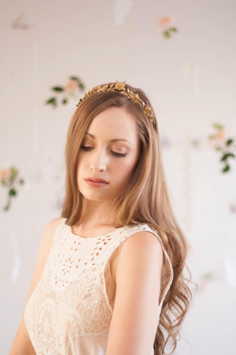 Mariage - Edwardian leaf mini tiara, silver, gold vintage tiara, leaf crown, gold leaf tiara, laurel crown, Greek goddess, flower crown, boho #103