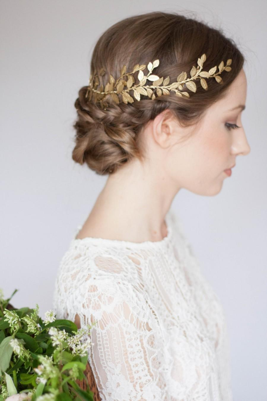 Alena Laurel Leaf Wrap Headpiece, Leaf Circlet, Gold Leaf Headpiece ...