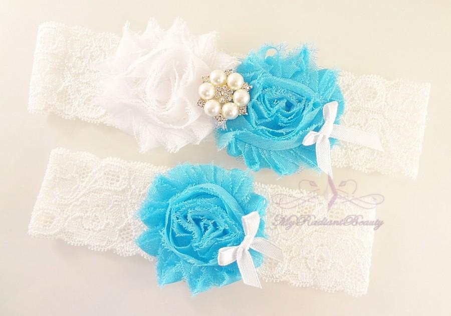 Свадьба - Bridal Garter, Wedding Garter, Sexy Garter, Turquoise Flower Garter, Bridal Flower Garter, Handmade Custom Garter, Beaded Garter GTF0018TUR