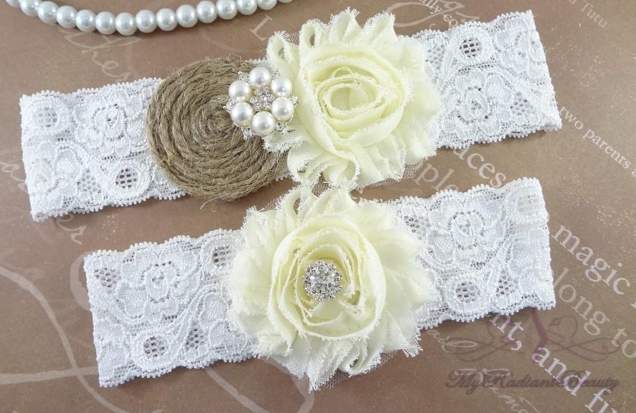 Mariage - Bridal garter, Wedding Garter, Garter, Burlap Garter, Garter Belt, Rustic Garter, Handmade Ivory Shabby Chic Garter, Sexy Garter GTF0025IVY