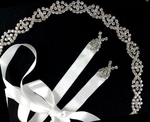 Mariage - Art Deco Bridal Headband, Silver Hair Tiara, Gold Crown, Gatsby Wedding Headpiece, Bridal Halo, EUROPA