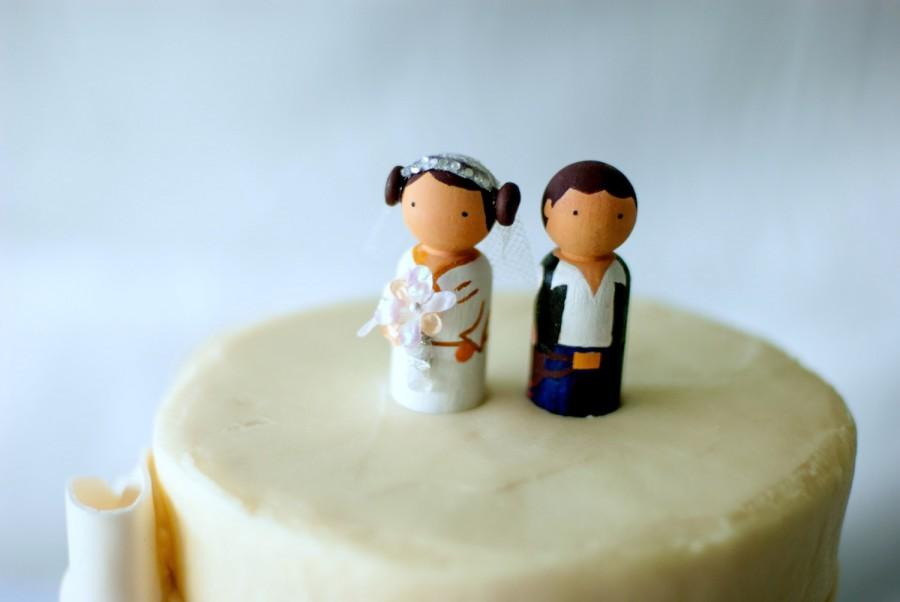 Star Wars Wedding Princess Leia And Han Solo Wooden Cake Topper