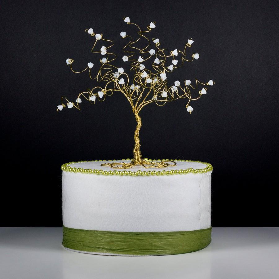 زفاف - Magnolia Tree Wedding Cake Topper Wire Tree Sculpture with White Flowers