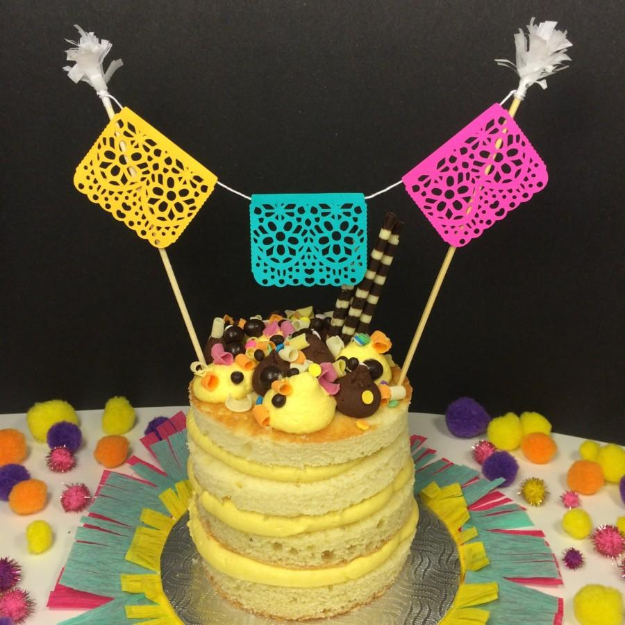 Papel Picado Cake Topper, Mexican Fiesta Decoration, Fiesta Wedding ...