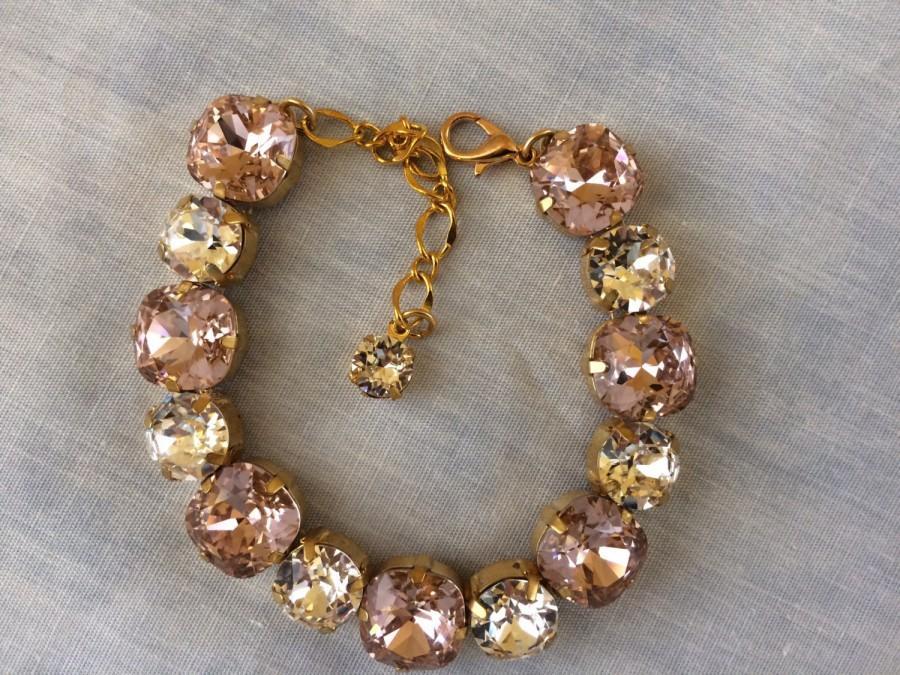 Hochzeit - Swarovski Crystal Blush Cushion Cut Bridal Bracelet, blush crystal wedding bracelet, blush wedding, bridesmaid Bracelet, blush bracelet