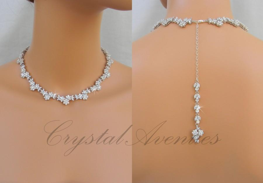 Bridal necklace backdrop wedding necklace crystal bridal for Back necklace for wedding dress