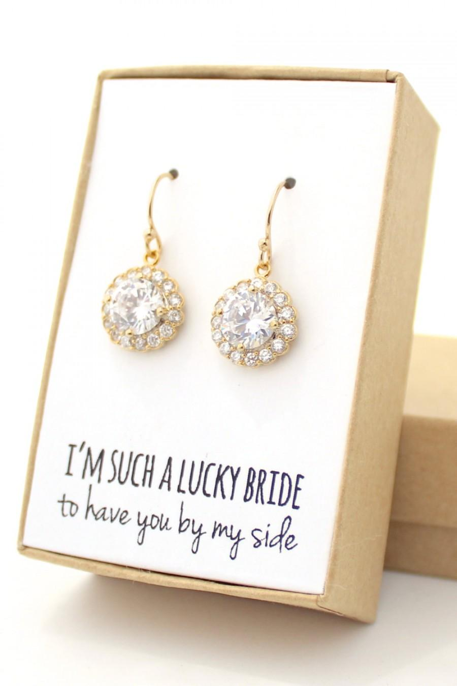 Hochzeit - Clear Crystal / Gold Round Cubic Zirconia Earrings With Gold Trim - Clear Crystal Earrings - Gold Bridesmaid Earring-CZ2 - Z10