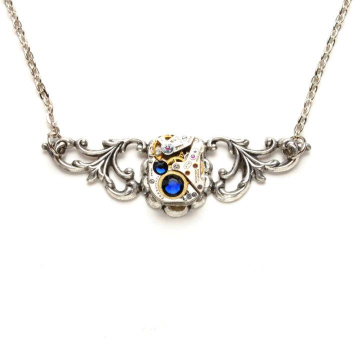 Hochzeit - SEPTEMBER SAPPHIRE BLUE Steampunk Necklace, Steampunk Watch Necklace, Gorgeous Silver Victorian Steampunk Jewelry By Victorian Curiosities