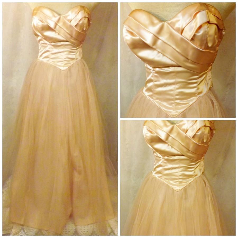 Свадьба - 60s Handmade Pink Satin n Tulle Mesh Bridesmaid Dress Size XS