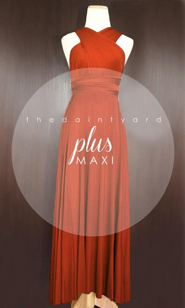 Maxi Plus Size Burnt Orange Bridesmaid Dress Prom Dress Wedding