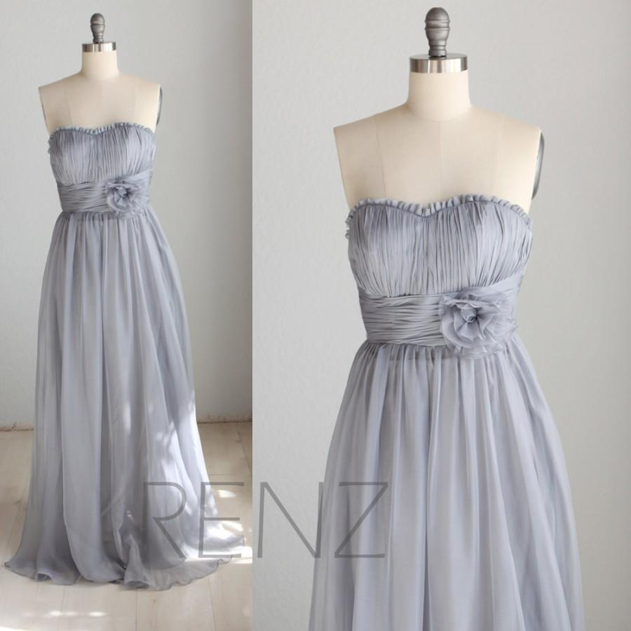 Свадьба - 2015 Medium Grey Bridesmaid dress, Gray Strapless wedding dress, Chiffon Rosette dress, Long Formal dress, Prom dress floor length (B002)