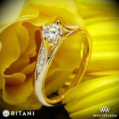 0c468a7aca1d9 18k Yellow Gold Ritani 1RZ1379 Vintage Tulip Diamond Engagement Ring ...