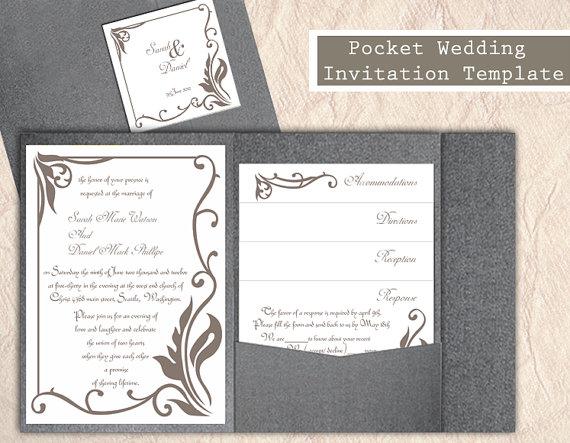 Wedding - Pocket Wedding Invitation Template Set DIY EDITABLE Word File Download Gray Wedding Invitation Coffee Invitation Printable Invitation