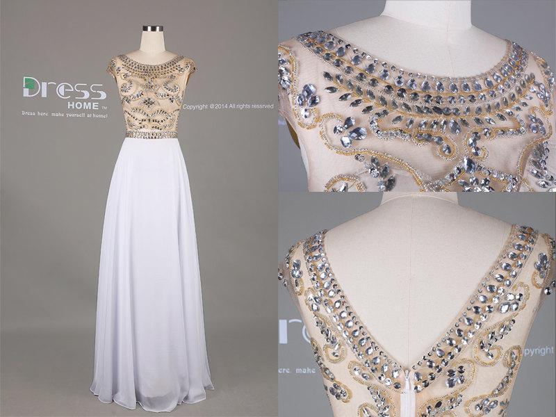Свадьба - 2015 Sweet 16 White Beading Cap Sleeve Long Prom Dress/Party Dress/White Prom Dress/Long Chiffon Prom Dress/Prom Dress  DH383