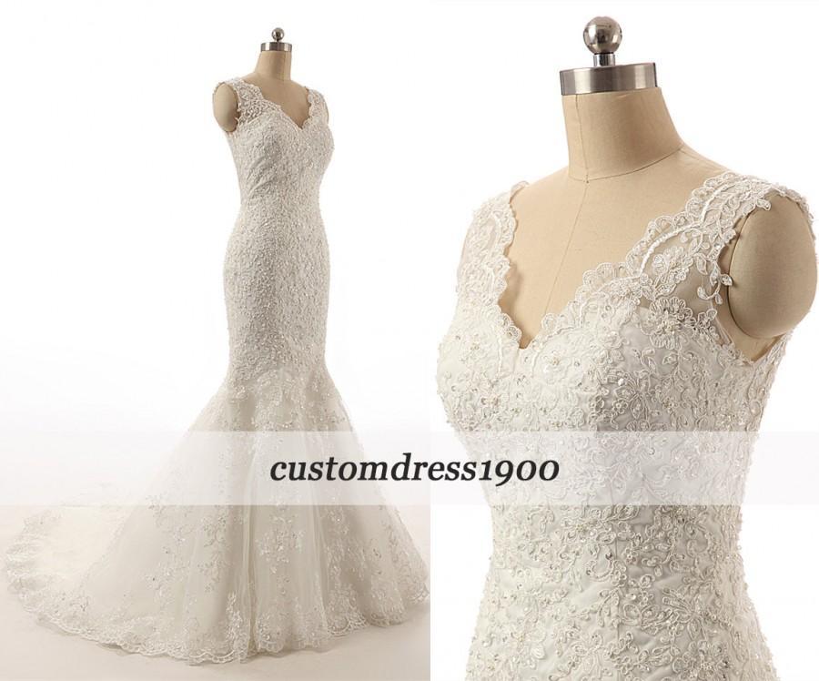 زفاف - Ivory Handmade Tulle Cap Sleeve Sweep Train Elegant V-Back Mermaid Lace Wedding Dress/Bridal Gowns